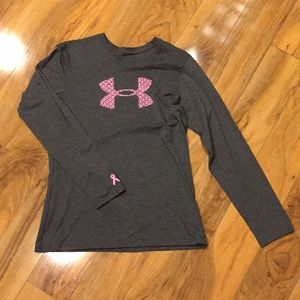 Sz small under armour pink ribbon top